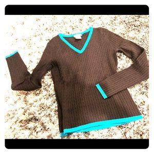 Brown & teal v-neck sweater